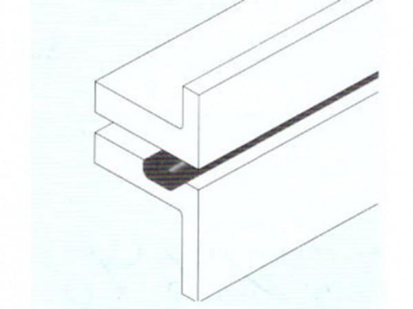 Hö: 2mm, Br: 100mm, Butylrechteckschnur einseitig mit Vlies 18m grau