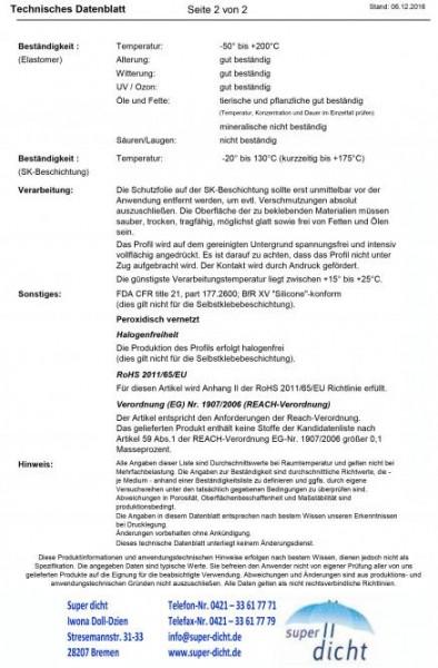 Silikon-Rechteckstreifen Malte Hö: 2mm, Br: 15mm, selbstklebend
