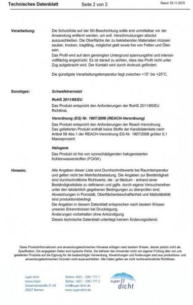 Kosina Hö: 2mm, Br: 9mm, Zellkautschuk selbstklebend, schwarz