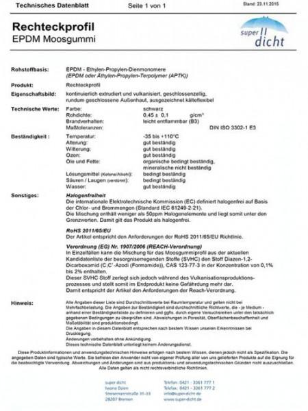Pat Hö: 10mm, Br: 14mm nicht selbstklebend Moosgummi Profil