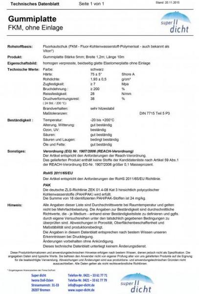 Gummiplatte FKM 75° Rapollo Höhe: 5mm